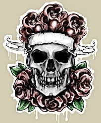 rose skull tattoo design with ribbon best tattoo designs