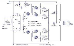 100 watt inverter circuit diagram parts list u0026 design tips