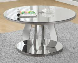 silver mirrored coffee table coffee table 36 dia brushed silver mirror monarch specialty