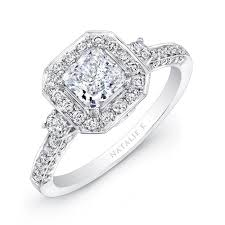 vintage square engagement rings white gold square halo engagement ring