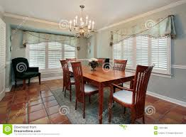 dining room with spanish floor tiles royalty free stock images