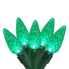 set of 100 faceted green led c6 lights green wire