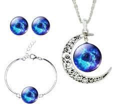 necklace earring bracelet set images Set galaxy art picture moon necklace stud earrings bracelet jpg