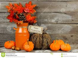 autumn decor happy thanksgiving tag with autumn decor against wood stock photo