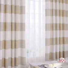 Linen Drapery Panels Country Linen And Cotton Blended Striped Curtains Buy Khaki Eco