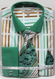 fratello mens green multi french cuff dress shirt tie set frv4133p2