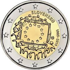 Slovak Flag 2 Euros Coin 2015 Slovakia U2013 30th Anniversary Of The European
