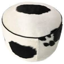 black and white cowhide pouf ottoman for sale at 1stdibs
