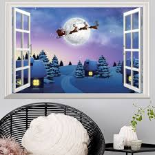window snowy christmas night village 3d wall art sticker in 48 5 window snowy christmas night village 3d wall art sticker colormix 48 5 72cm