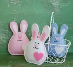 set of 3 felt bunnies easter decoration pink white and blue