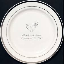 silver wedding plates 7 in custom printed reusable silver trim plastic plates