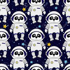 space wrapping paper panda astronaut and in space style seamless