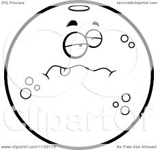 cartoon clipart of a black and white sick navel orange character
