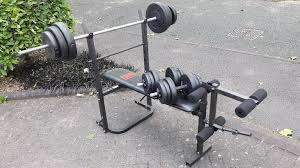 York 6605 Bench Bench With 50kg Weights U0026 5 5ft Bar U0026 Dumbbells In Walsall West