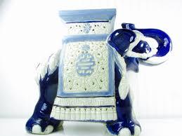 Porcelain Elephant Vintage Elephant Elephant Table Elephant Plant Stand Blue And
