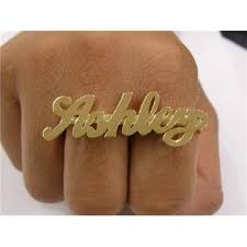 two finger name ring nikfine 14k gold overlay two finger any name ring personalized 2 a1
