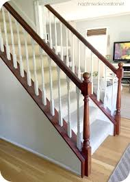 Stripping Paint From Wood Banisters Bye Bye Cherry Helloooo Java The Easy Banister Makeover
