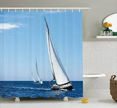 Sailboat Shower Curtains Ambesonne Sailboat Nautical Decor Collection Luxury Yachts