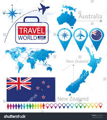 World Map New Zealand by New Zealand Australia Flag World Map Stock Vector 157150373