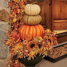 autumn decor stacked faux pumpkins fall decor improvements