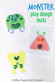 printable playdough recipes printable monster play dough mats coffee cups and crayons