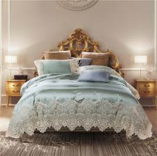 80s silk cotton embroidered lace luxury wedding royal bedding set