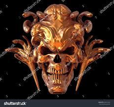 background for halloween golden monster skull design on black stock illustration 655612459