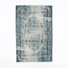 Over Dyed Distressed Rugs Distressed Arabesque Wool Rug Midnight West Elm