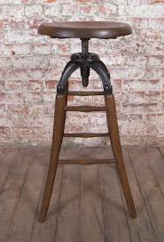 drafting bar stool vintage industrial wood and cast iron adjustable drafting stool at