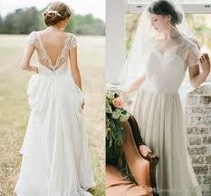 discount new simple elegant a line chiffon beach wedding dresses