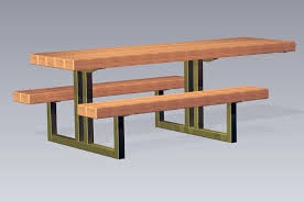 Picnic Table With Benches Plans Timberform Site Furnishings