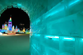 you can slide down an ice sculpture of the great wall of china