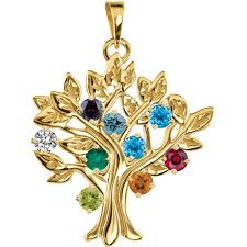 mothers pendant gold 1 to 9 stones s tree pendant