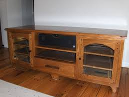 Wooden Tv Stands And Furniture Rectangle Brown Polished Teak Wood Narrow Tv Stand And Stereo