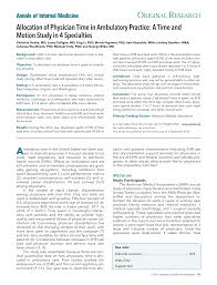 Allocation Of Physician Time In Ambulatory Practice Annals Of