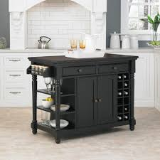 resplendent portable kitchen island with cabinets and wine rack in