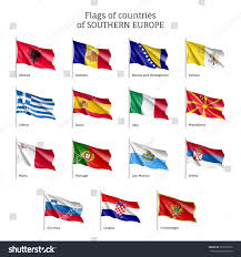 Flags Of European Countries Set Waving Flags European Countries Bosniaherzegovina Stock