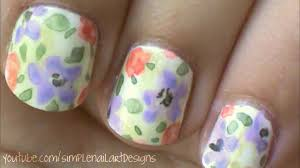 watercolor flower nail art tutorial youtube
