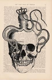 halloween decor skull dictionary art vintage octopus on a skull