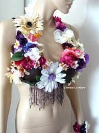 Coconut Halloween Costume Hula Coconut Flower Bra Cosplay Dance Costume Rave Bra