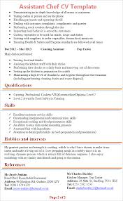 Sample Resume For Chef Position by Assistant Chef Cv Template Tips And Download U2013 Cv Plaza