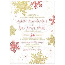 wedding invitations gold and white gold snowflake winter wedding invitation