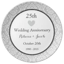 25th wedding anniversary plates 25th silver memento wedding anniversary gifts on zazzle