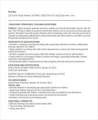 Sample Resume For Early Childhood Assistant by 39 Printable Teacher Resume Templates Free U0026 Premium Templates