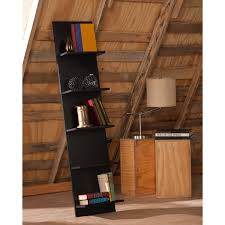 furniture black wood leaning bookcase with wicker hamper on lowes