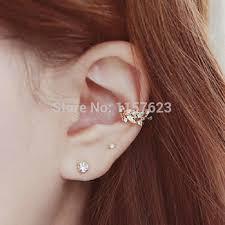 two earrings korean jewelry flower leaf wheat ear earrings non pierced ear bone