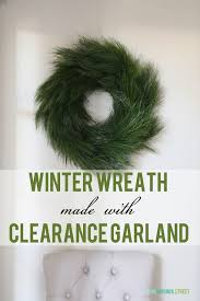 winter wreath made from clearance garland on virginia