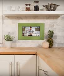 kitchen tv watch tv in kitchen fitted to wall it s electric kitchen tv lush green faceplate