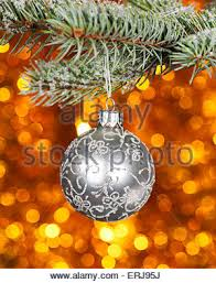 Tree Branch Centerpiece Christmas Ball And Pine Tree Branch Decoration Stock Photo
