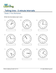 grade 2 telling time 5 minute intervals a